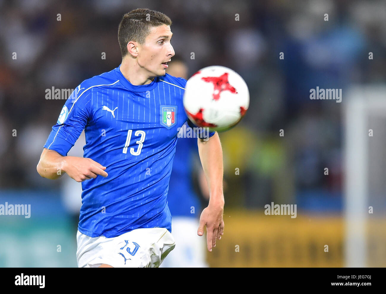 Mattia Caldara during the UEFA European Under-21 match between Italy and Germany on June 24, 2017 in Krakow, Poland. - Stock Image