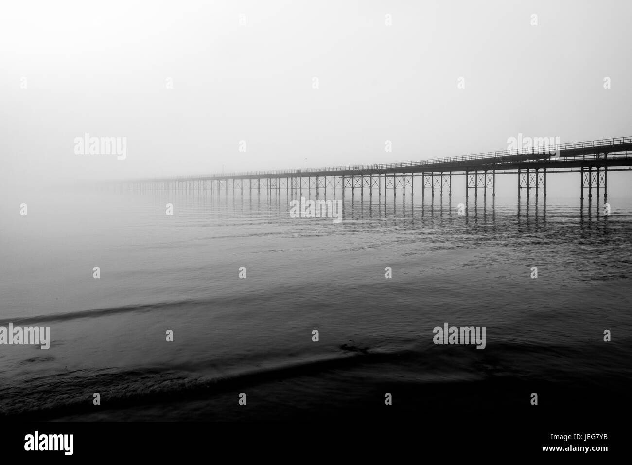 southend pier in the fog - Stock Image
