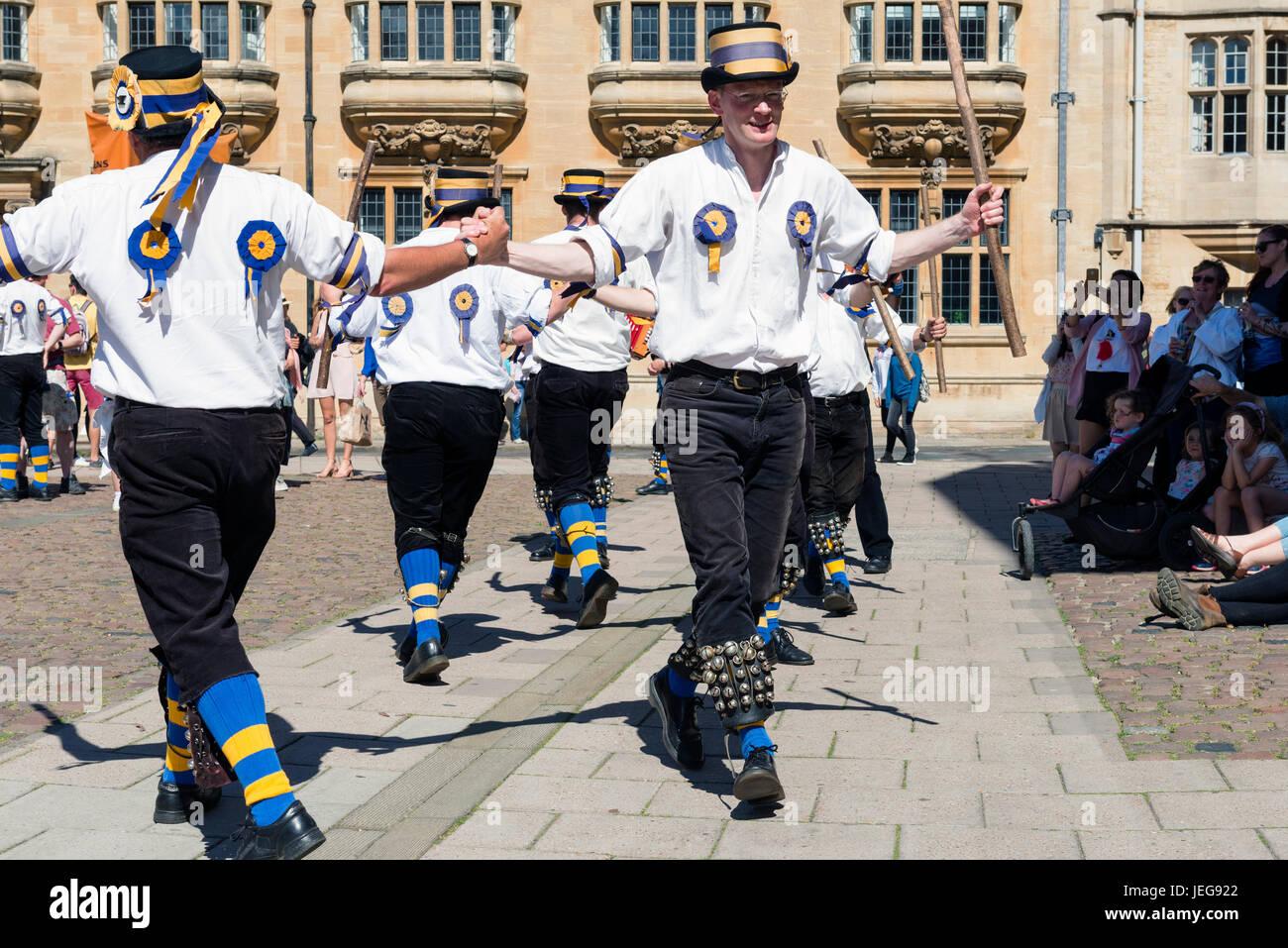 Morris dancing in Oxford City Centre, UK. - Stock Image