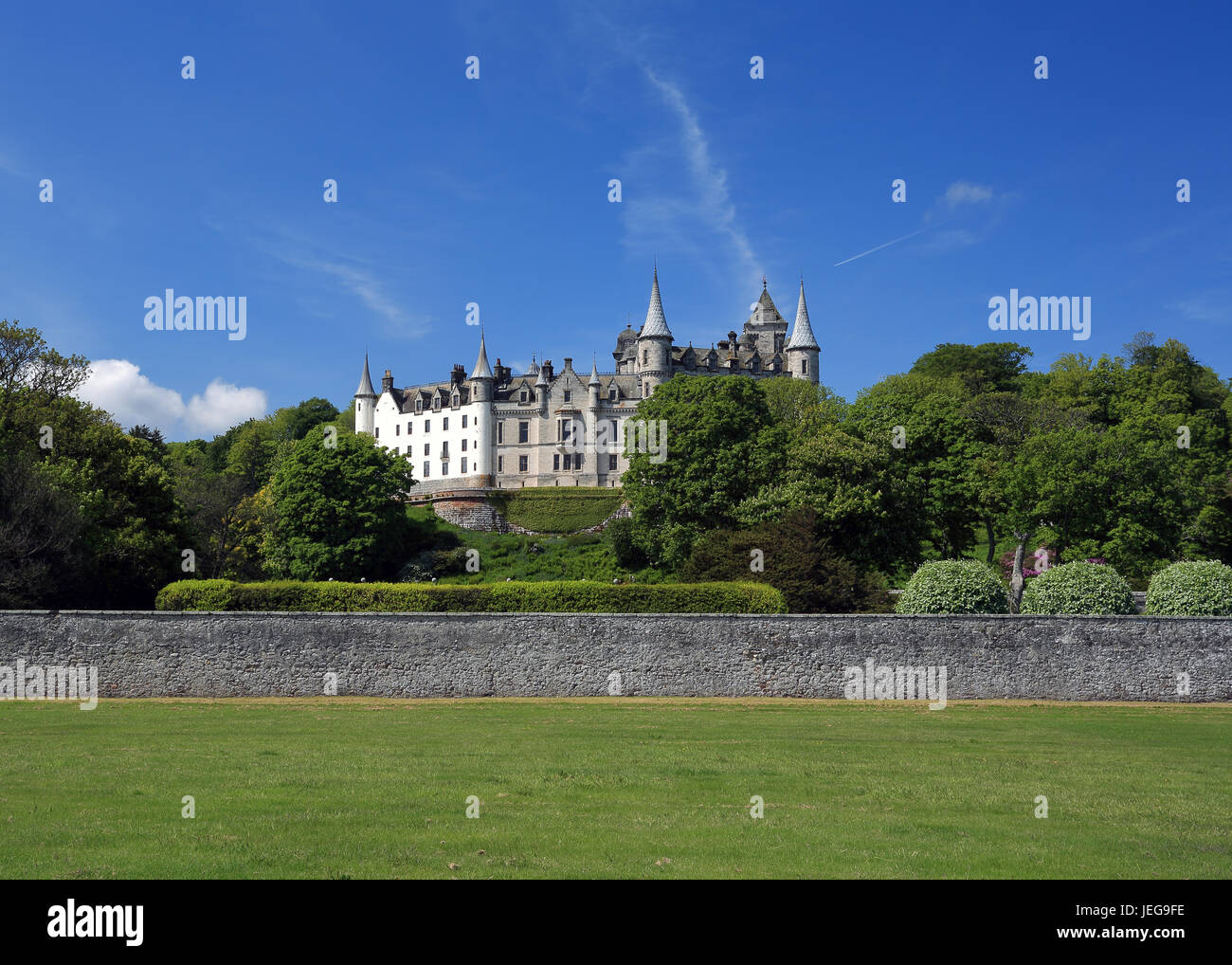 Dunrobin Castle, Golspie, Scotland on a sunny day with blue skies - Stock Image