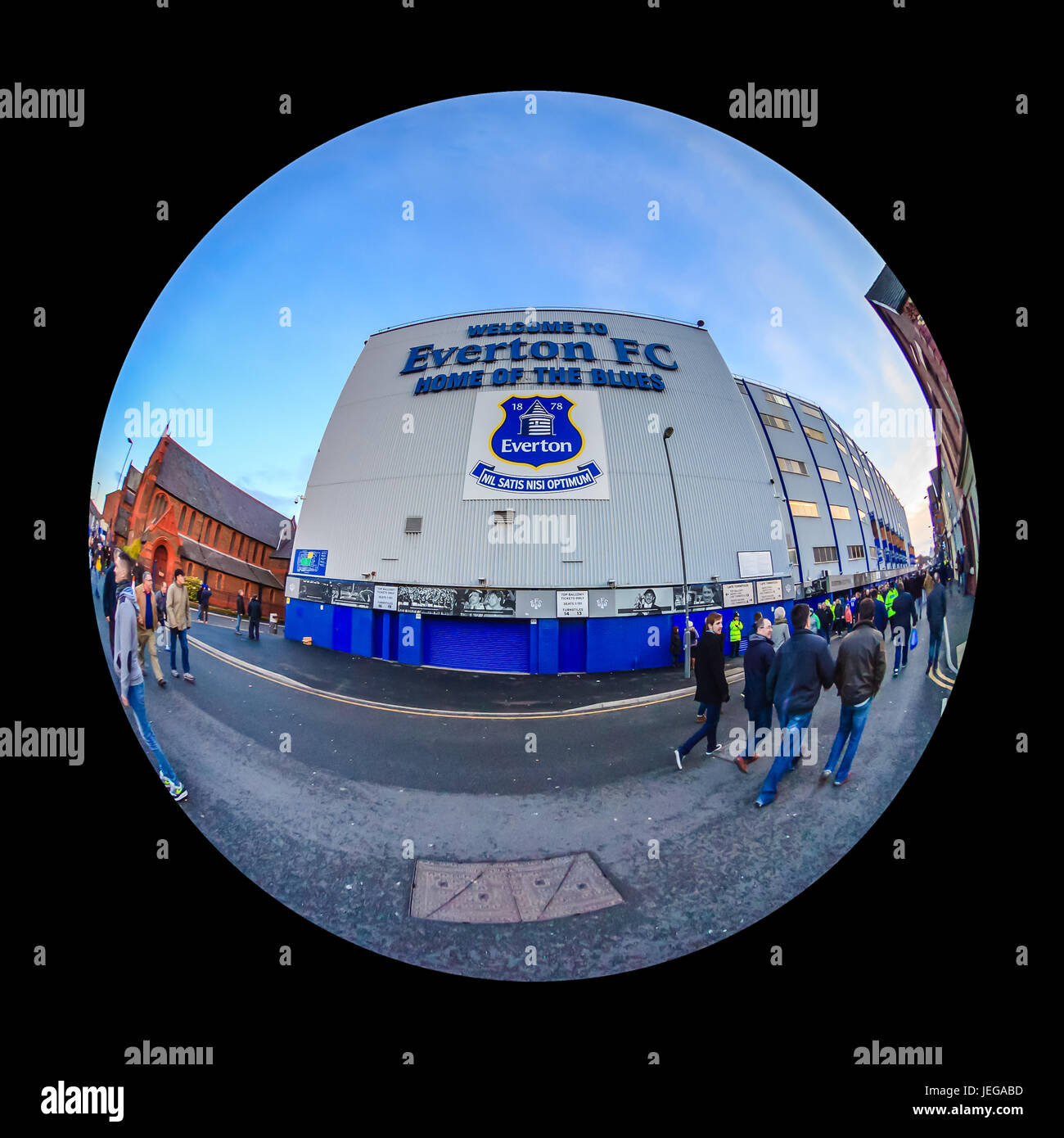 Goodison Park home of Everton Football Club.  The stadium is one of the oldest purpose built football stadiums in Stock Photo