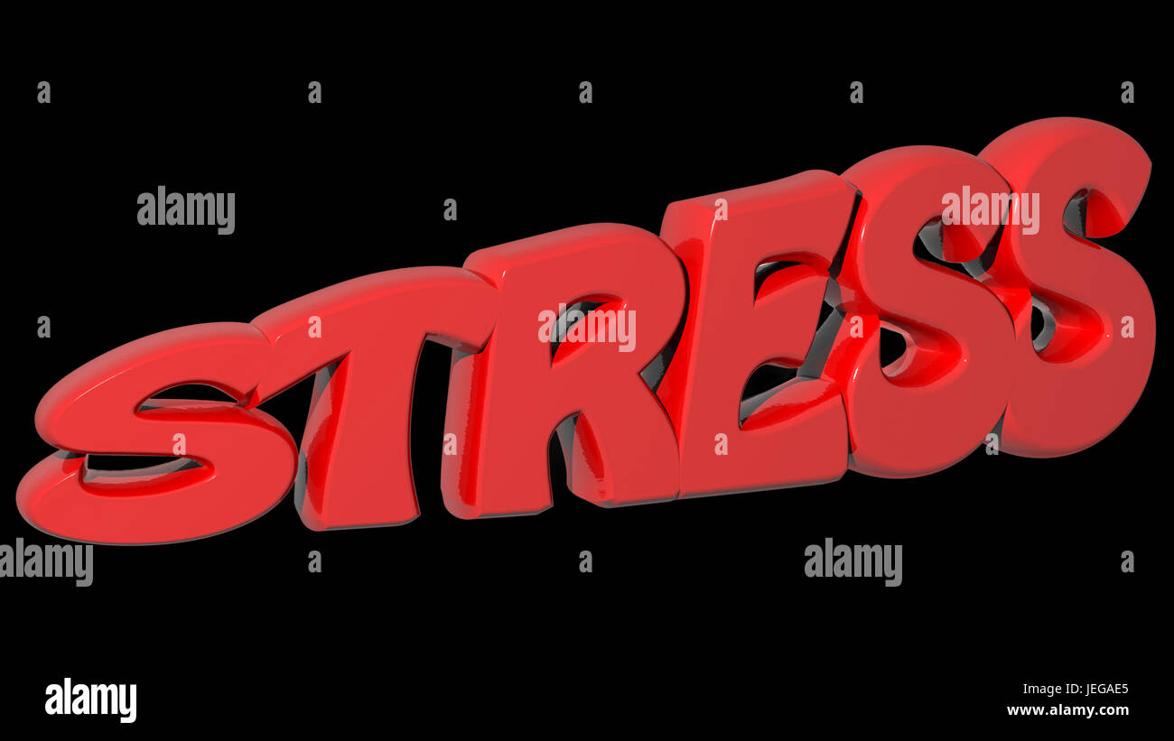 STRESS red 3D write - Stock Image