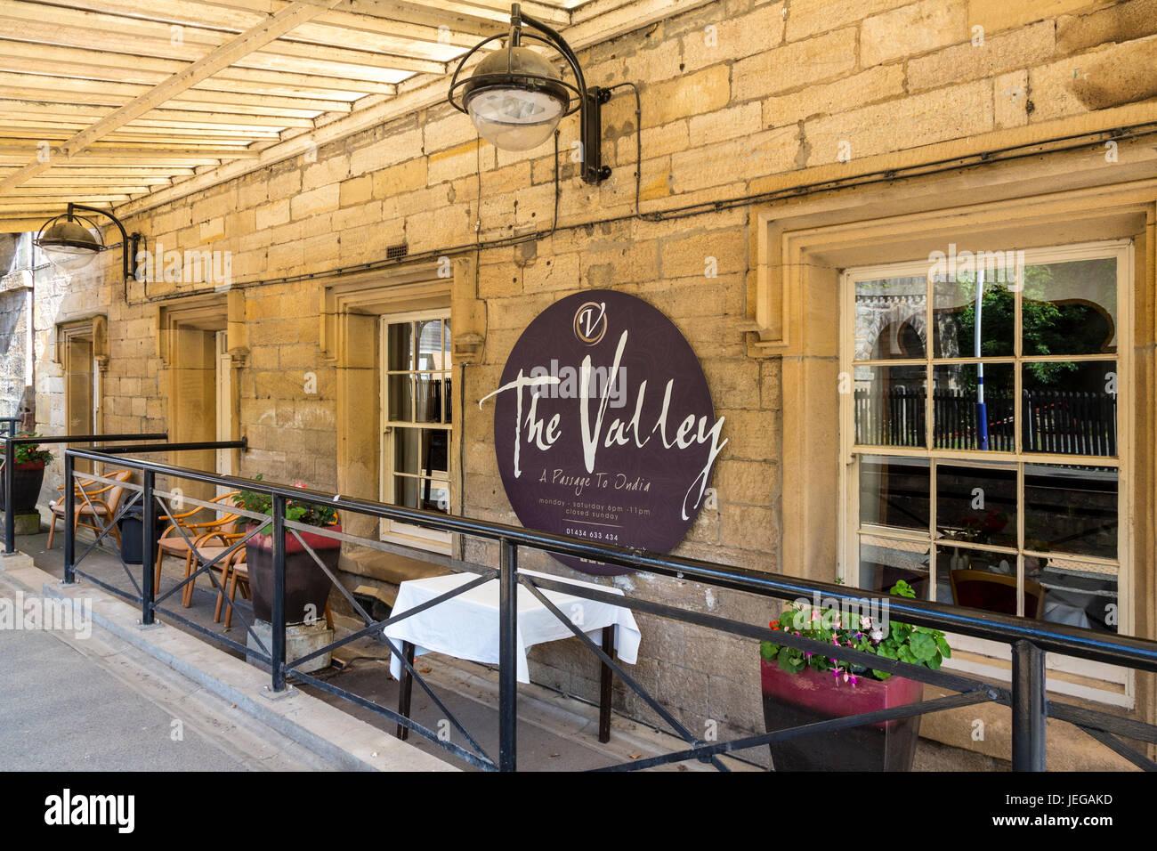 Corbridge, Northumberland, England, UK.  The Valley Indian Restaurant, repurposed from former train station. - Stock Image