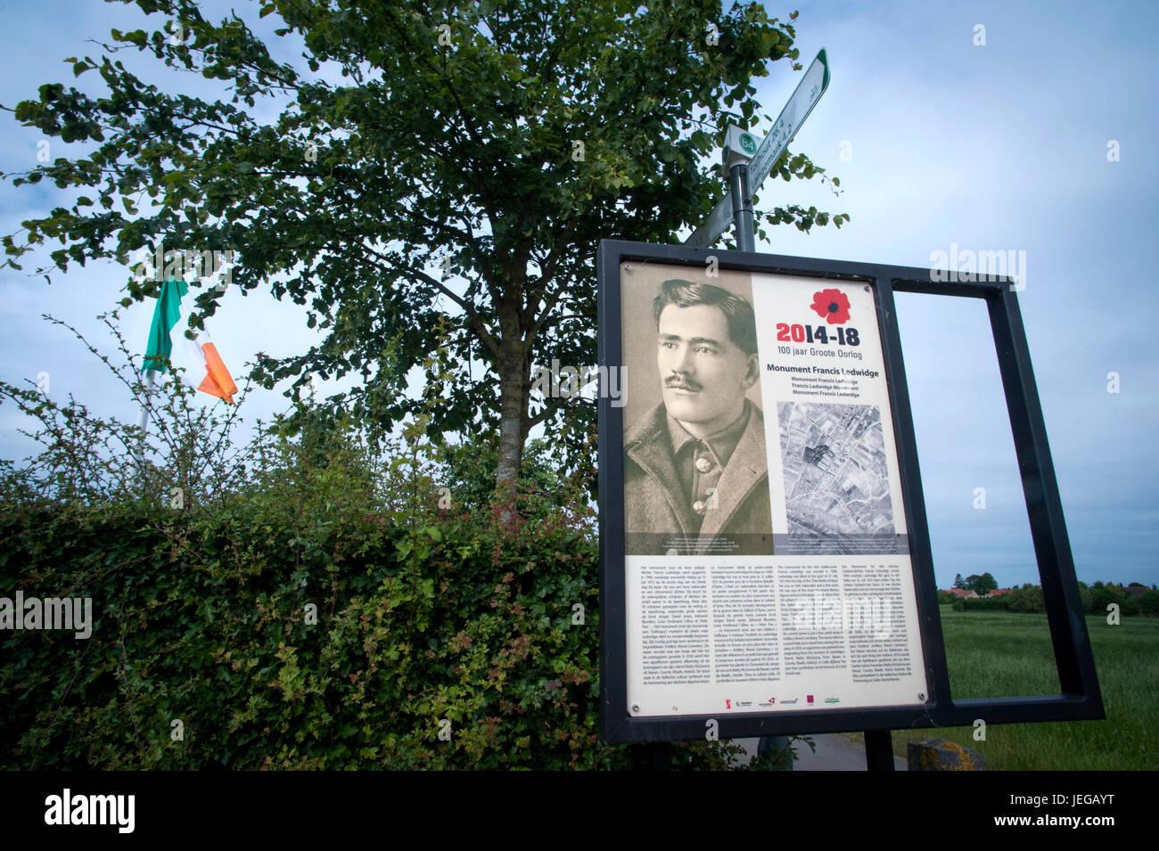 Monument to  Poet Francis Ledwidge. Francis Edward Ledwidge was killed aged 29 on the battlefield at Boesinghe on - Stock Image