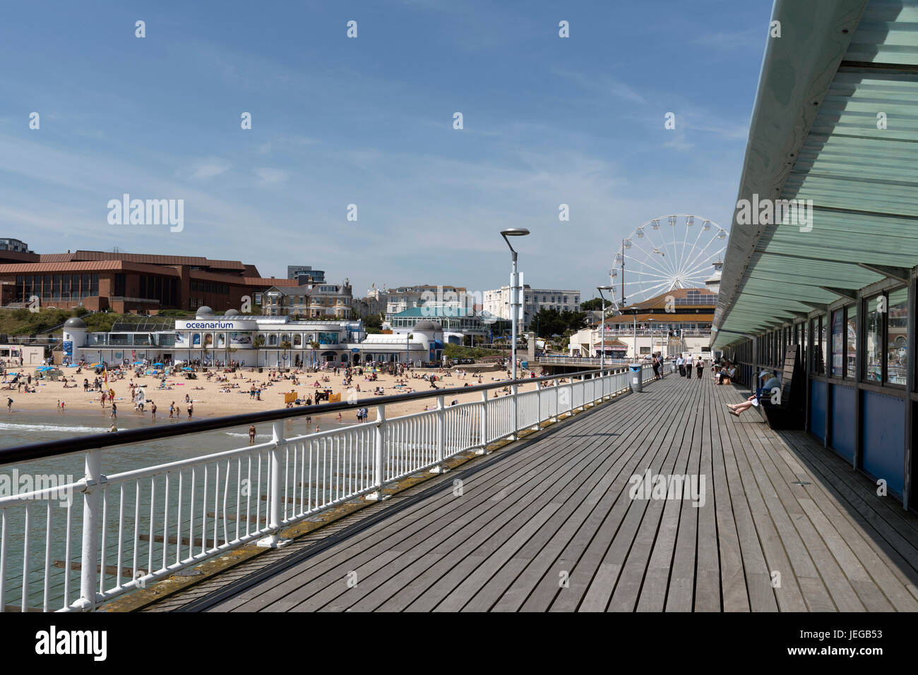 The pier and beach at Bournemouth a popular seaside resort in southern England UK. June 2017 - Stock Image