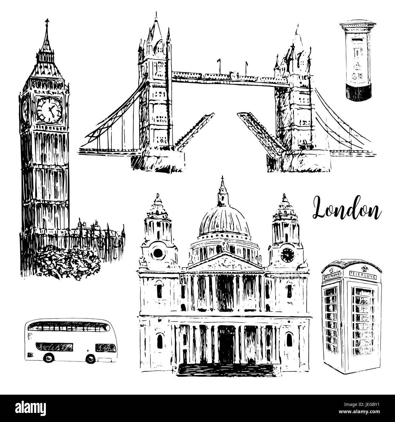 London symbols: St. Paul Cathedral, Big Ben and Tower Bridge. Beautiful hand drawn vector sketch illustration. - Stock Vector