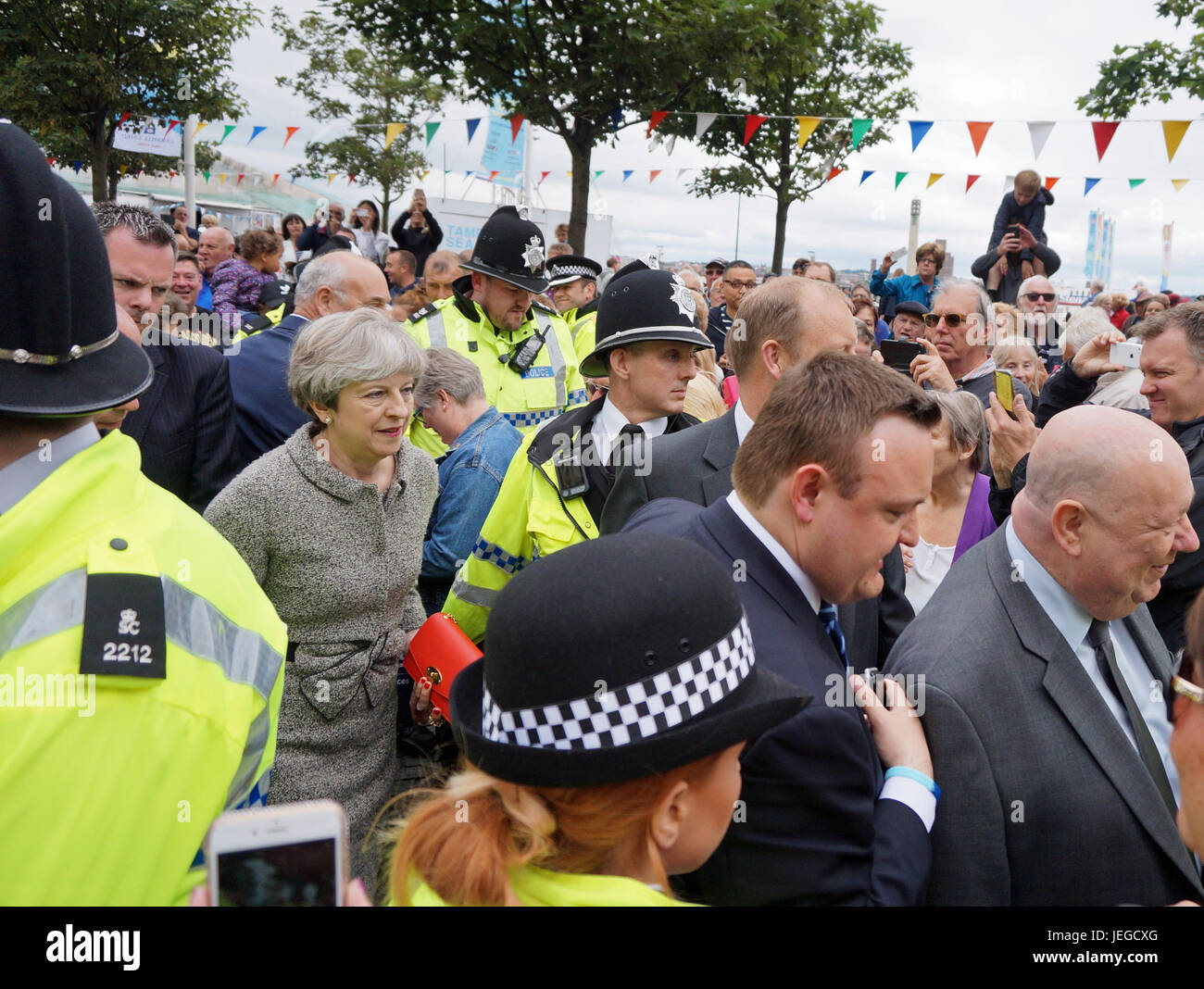 Liverpool, UK. 24th June, 2017. Theresa May on a walkabout at the Pier Head in Liverpool just after midday on Saturday, - Stock Image