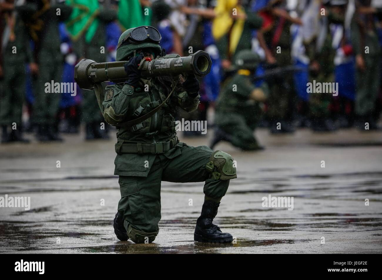 Troops participate in an event ro commemorate the Carabobo Battle in Carcas, Venezuela, 24 June 2017. Chavists marched - Stock Image