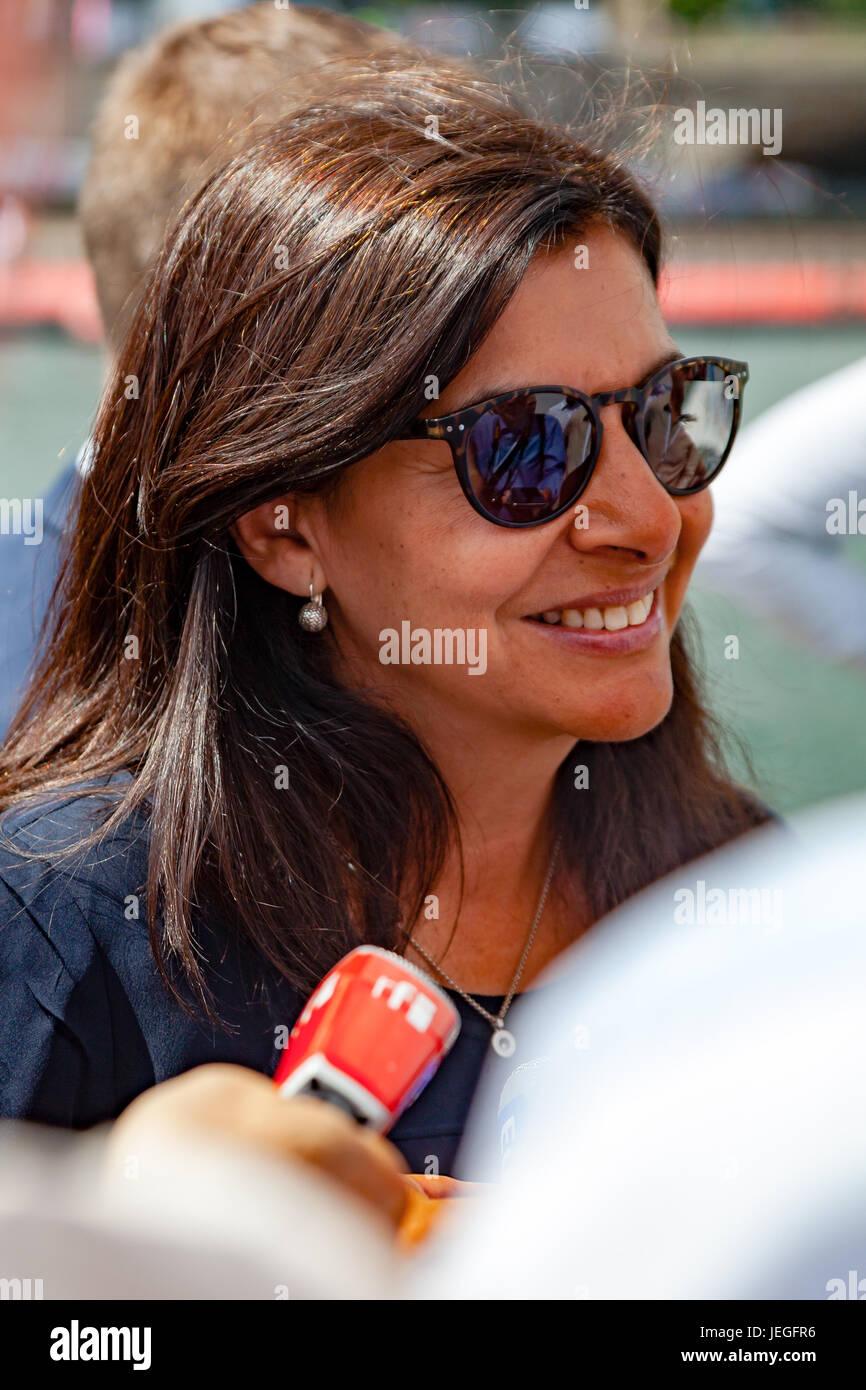 Paris, France. 24th Jun, 2017. Anne Hidalgo mayor of Paris talks about her motivations regarding Olympic Games in Stock Photo
