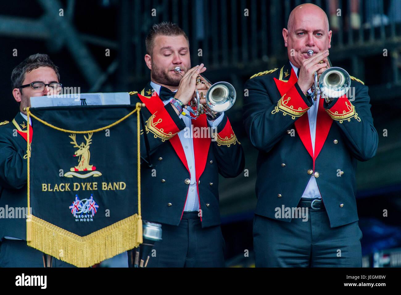 Glastonbury, UK  24th June, 2017  The Black Dyke Brass Band