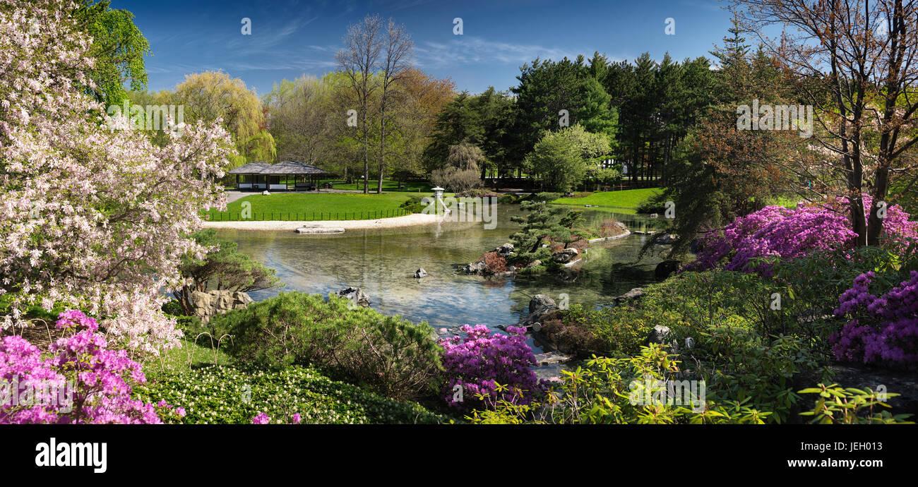 Chinese Temple And Zen Garden At Montreal Botanical Garden, Montreal,  Quebec, Canada