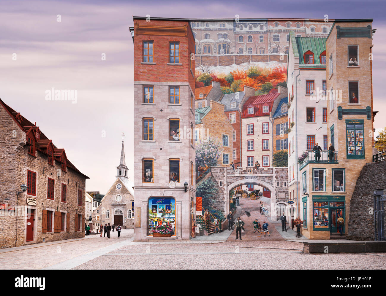Wall mural fresco with Quebec history Notre Dame street Old Quebec