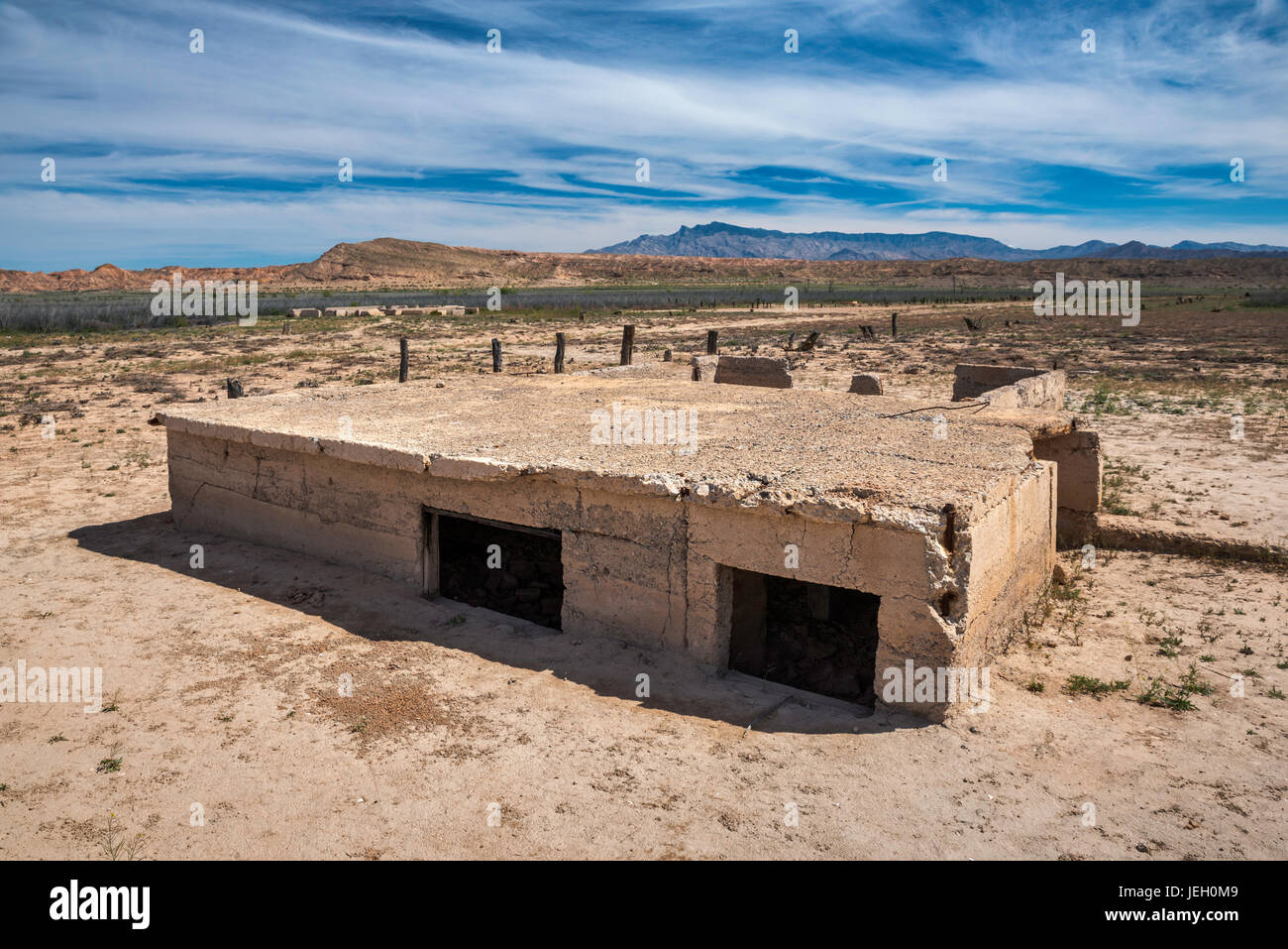 Foundation of house in St Thomas, ghost town submerged under Lake Mead for many years, now exposed, Lake Mead National Stock Photo