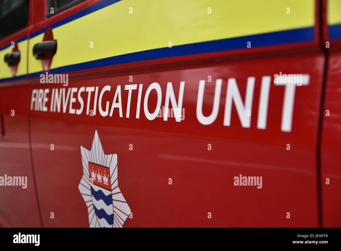 London Fire Brigade Fire Investigation Unit Van Door Text - Stock Image