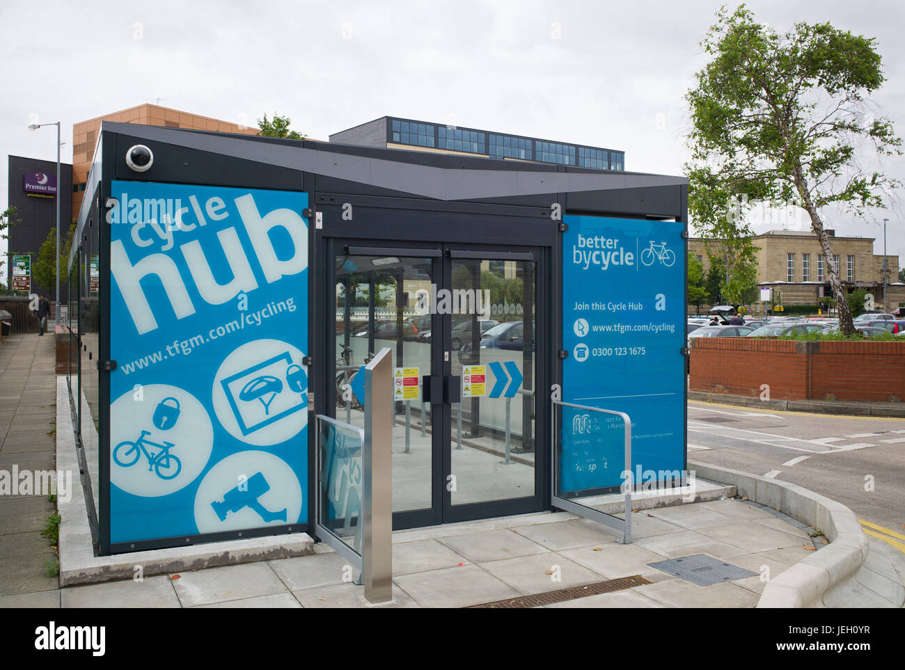 Cycle hub for bicycle parking adjacent to Bury Interchange tram and bus station, Bury, Greater Manchester, UK Stock Photo