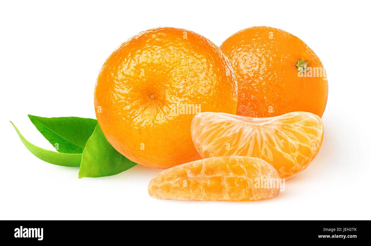 Isolated tangerines. Two whole tangerine or mandarin orange fruits and peeled segments isolated on white background Stock Photo