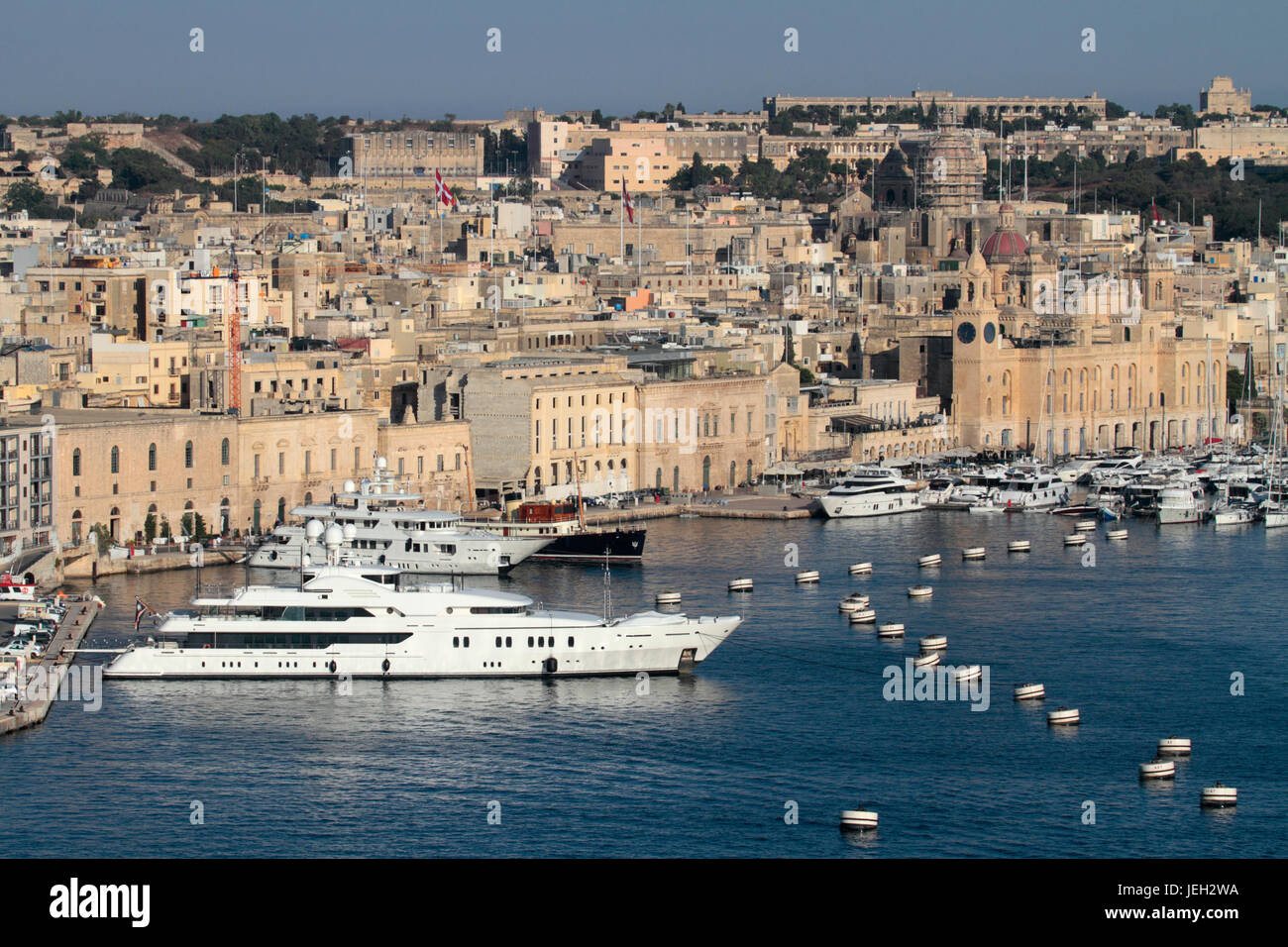 Grand Harbour Yacht Marina, Birgu, Malta, with the yachts Maria and Pride closest to the camera - Stock Image