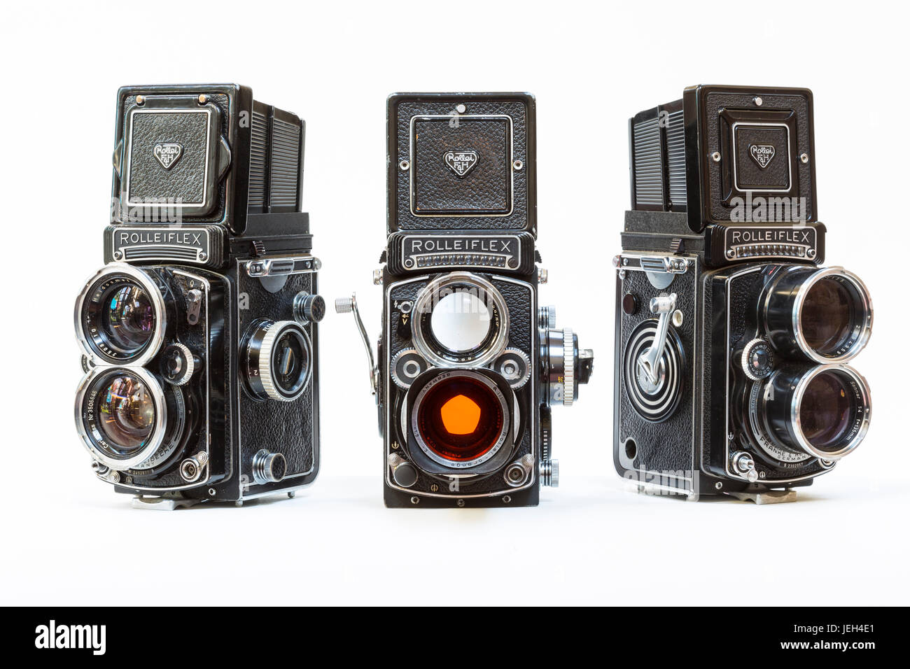 A trio of 1960's Rolleiflex professonal photographers film cameras used in the 1960's. L-R Rollei Wide, - Stock Image