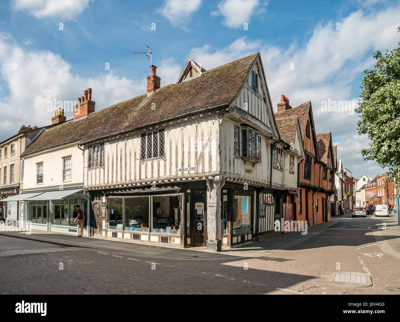 Curson Lodge a rare survivor of an early Tudor Inn Ipswich Suffolk UK restored in 2007 - Stock Image