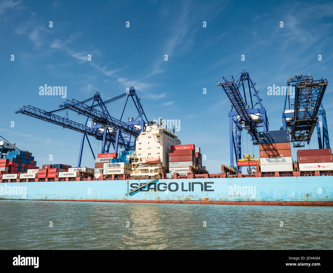 Container Ship of Seago Line, being Loading at Port of Felixstowe Suffolk UK Stock Photo