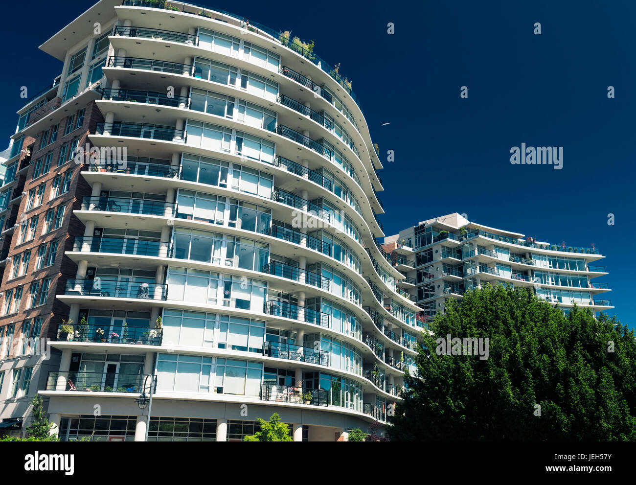 Modern luxury condo building in downtown Victoria, BC on a sunny summer day. Victoria, Vancouver Island, British - Stock Image