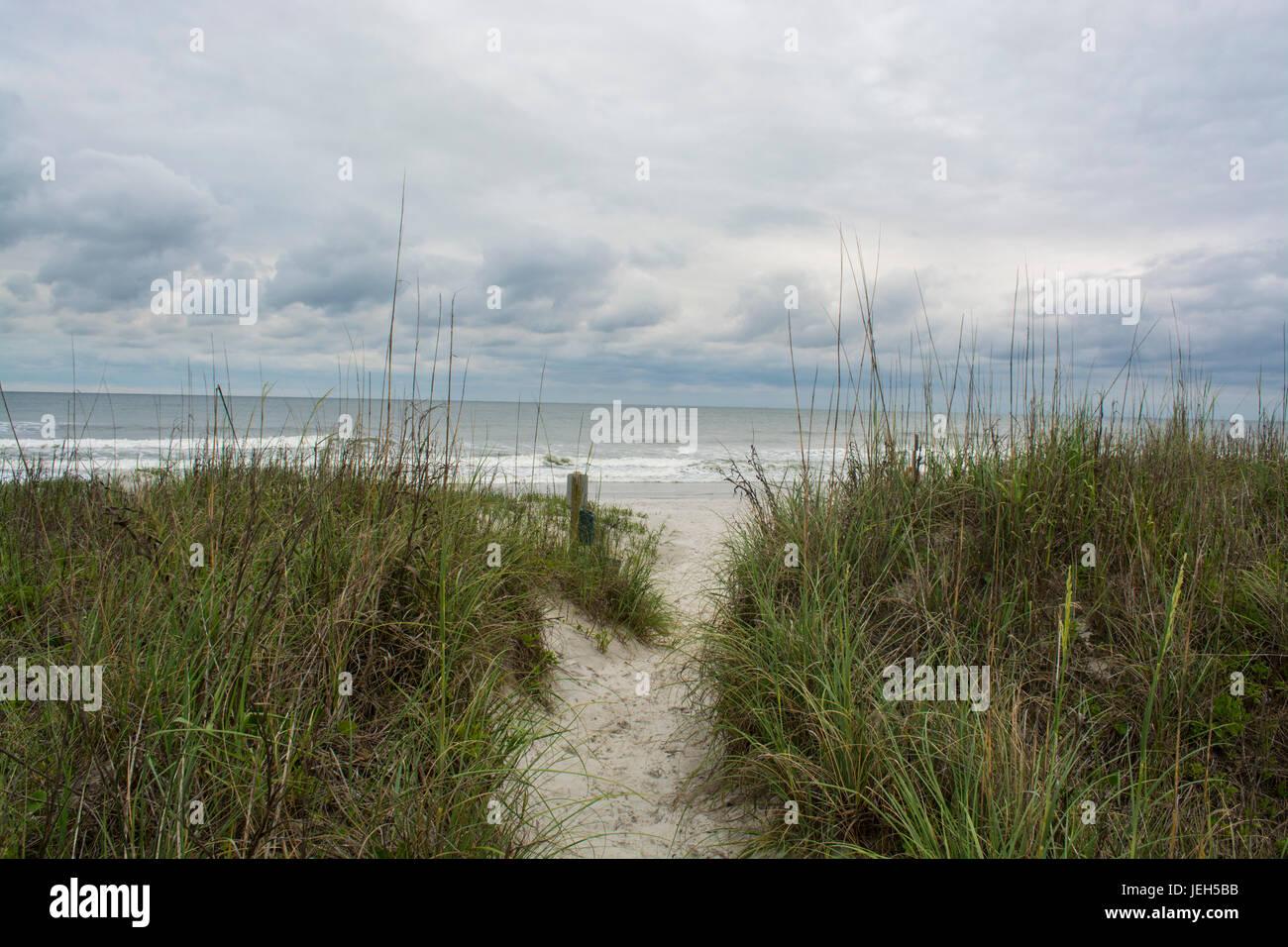 Overcast ocean waves landscape Stock Photo