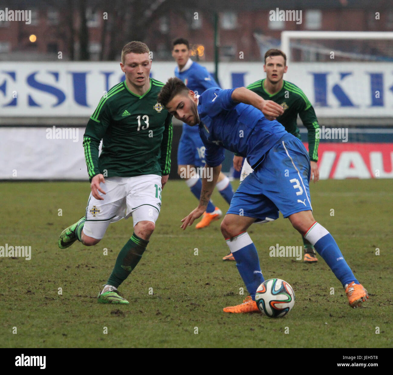 Mourneview Park, Lurgan. 05 March 2014. UEFA U21 Championship 2013-2015 Group 9 - Northern Ireland 0 Italy 2. Italy's Stock Photo