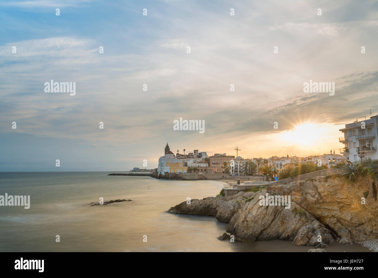 Sitges downtown and seaside view; Sitges, Barcelona province, Spain - Stock Image