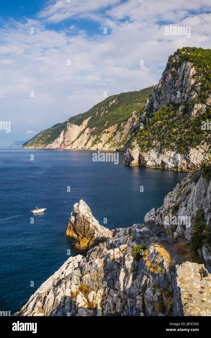 Cliff and old ruins over the Gulf of Poets; Porto Venere, La Spezia province, Italy - Stock Image