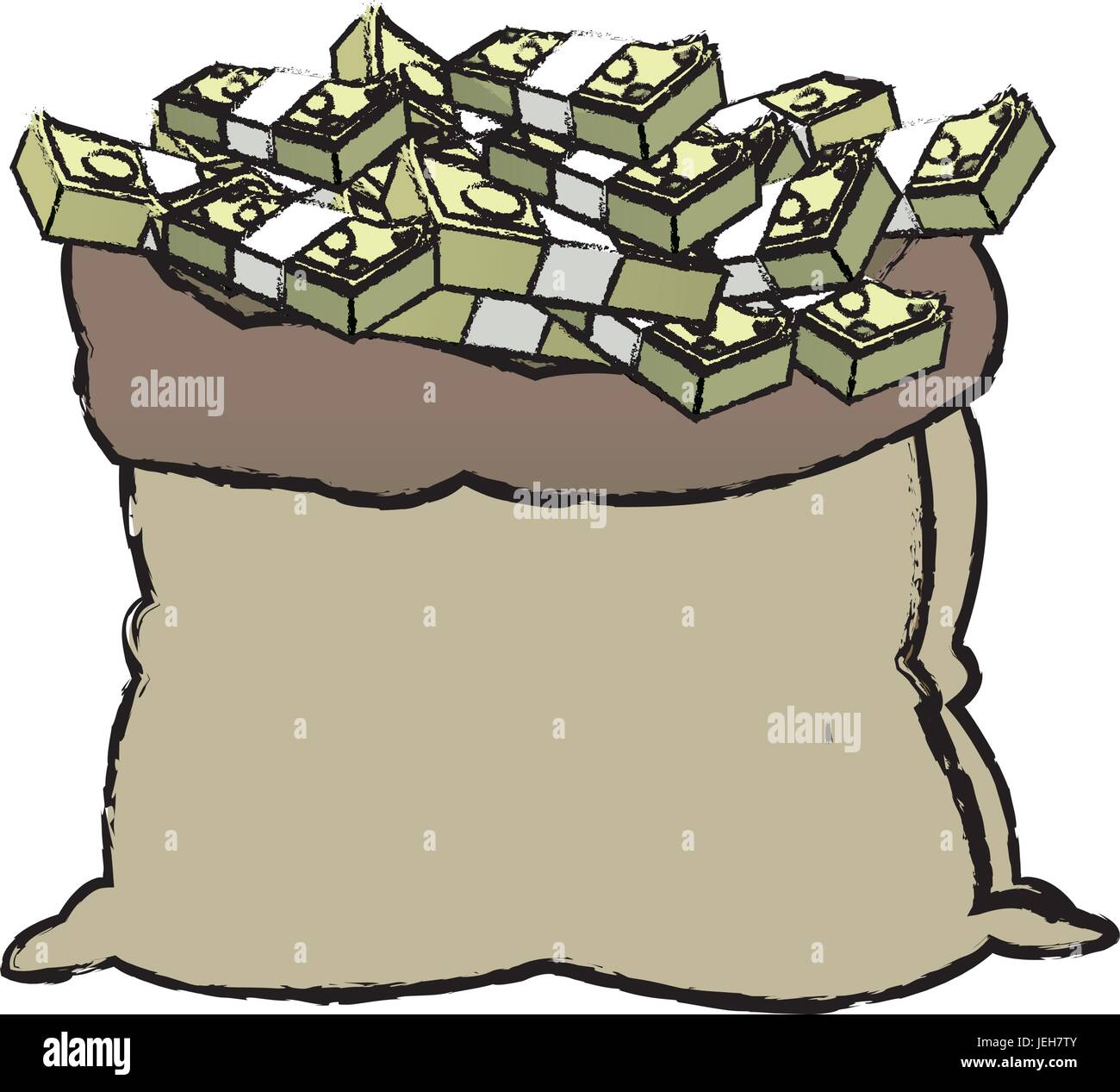 open money bag stack banknote dollar cash banking icon - Stock Vector
