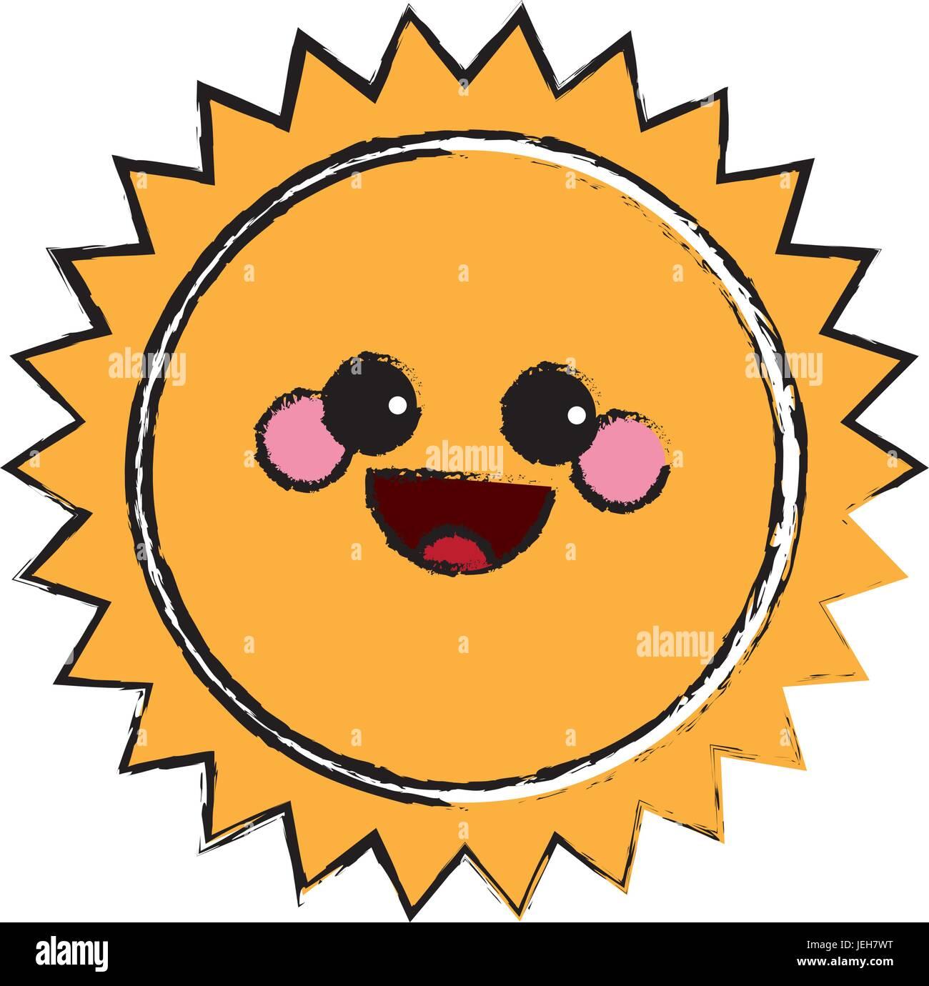 summer sun kawaii character emoticon hot icon - Stock Vector