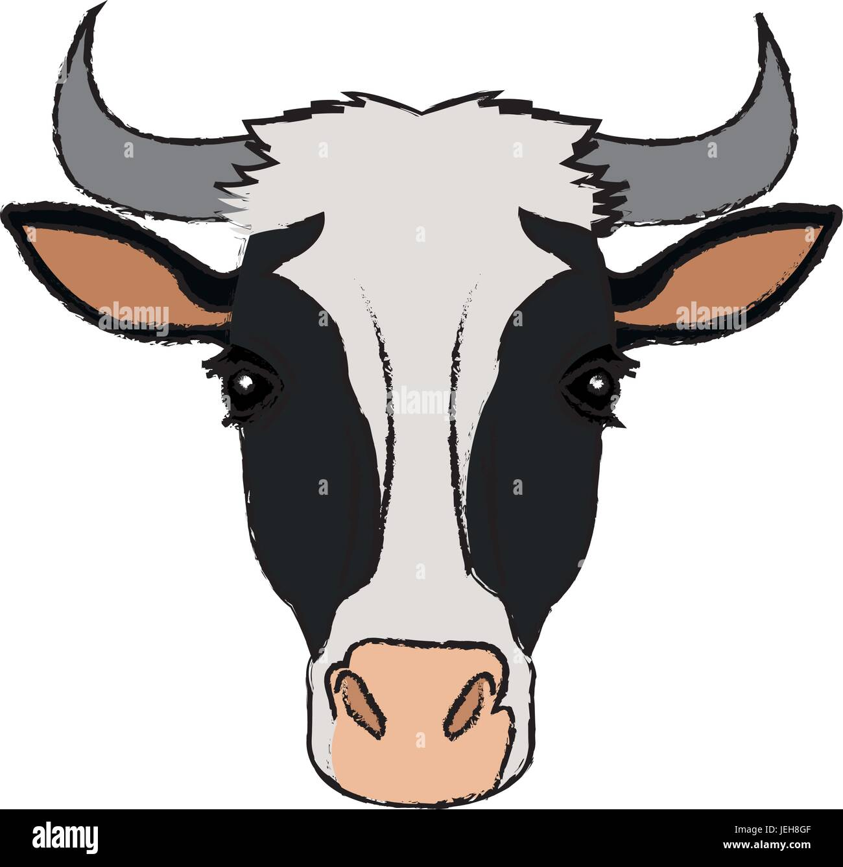 cow head horns aminal rural farm Stock Vector Art