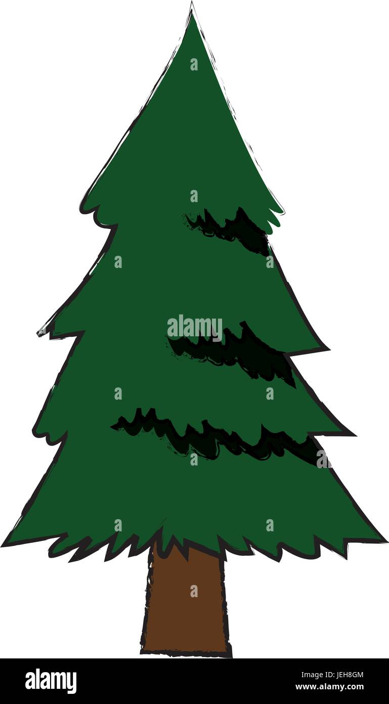 pine tree foliage trunk forest vegetation icon - Stock Vector
