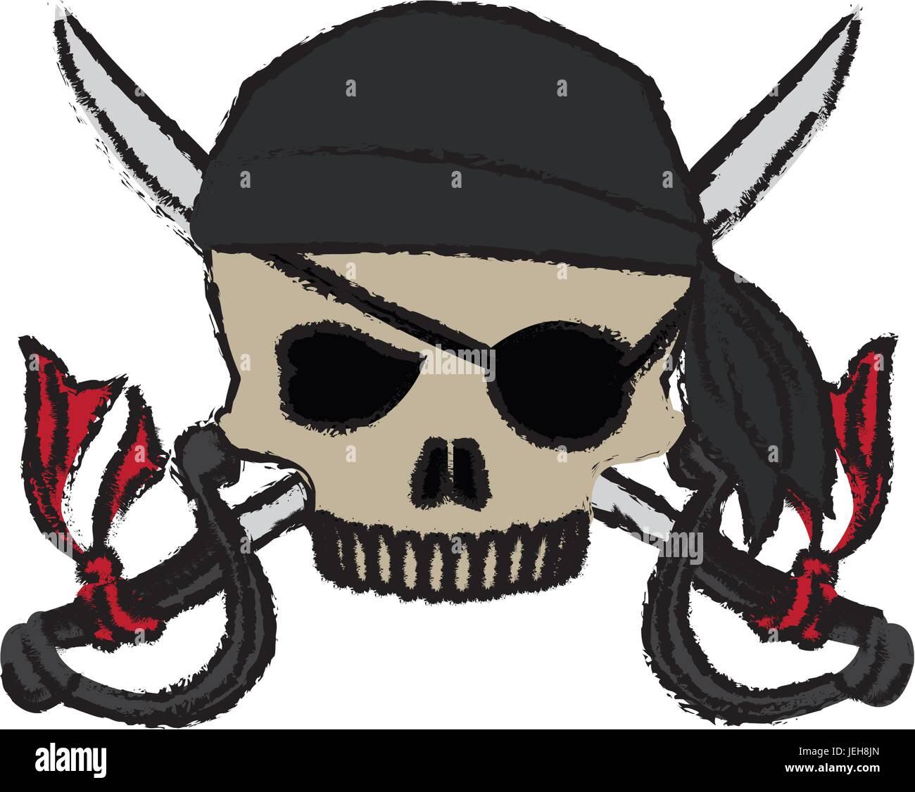cartoon pirate skull hat patch eye with cross swords - Stock Vector