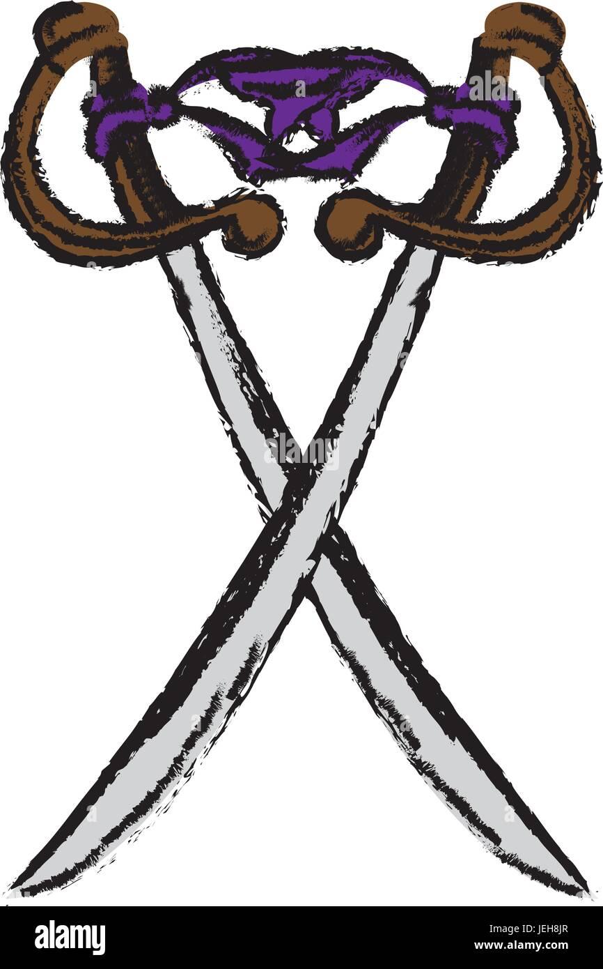 Two Cross Pirate Sword Arm Dangerous