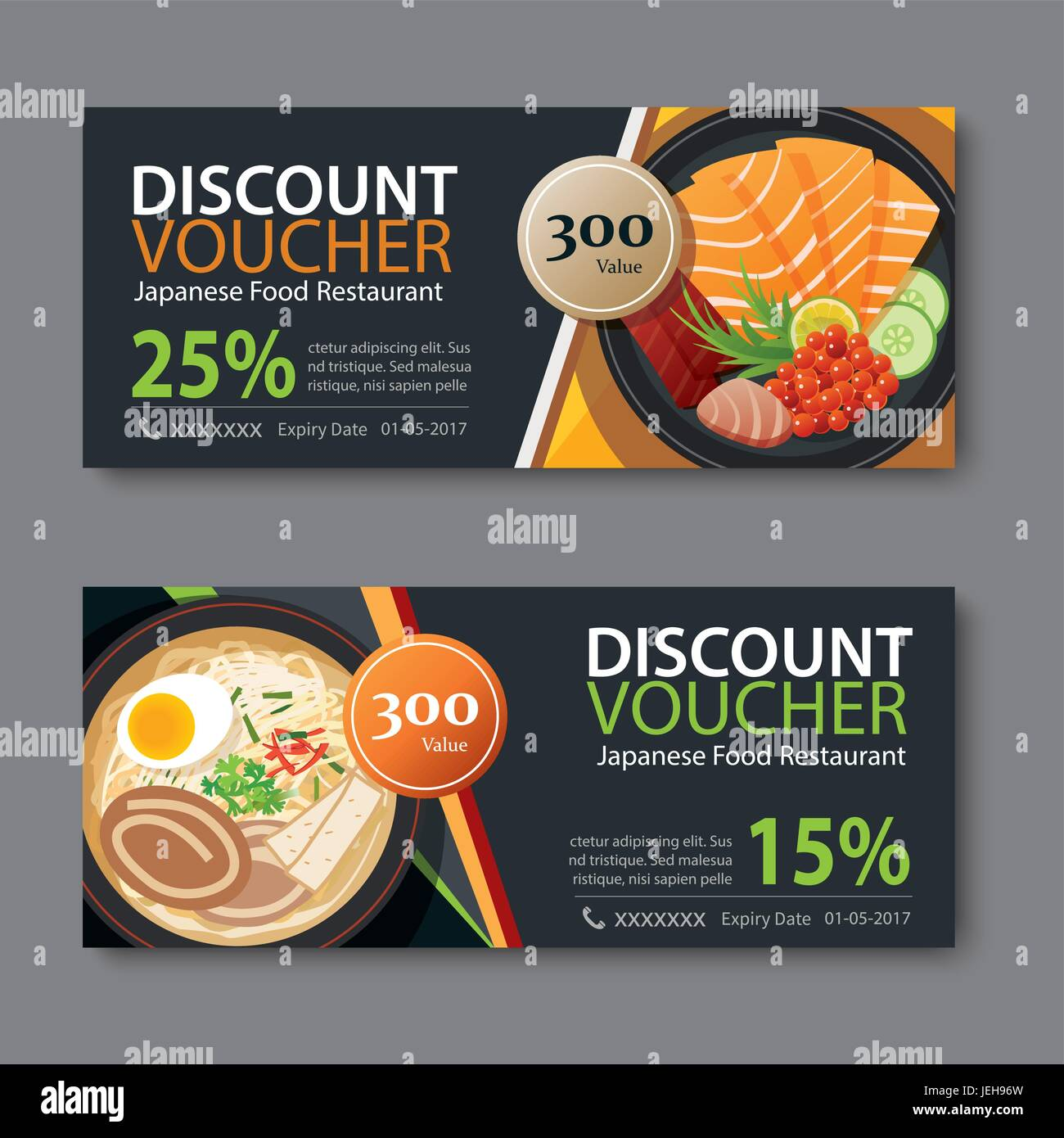 discount voucher template with japanese food flat design Stock ...
