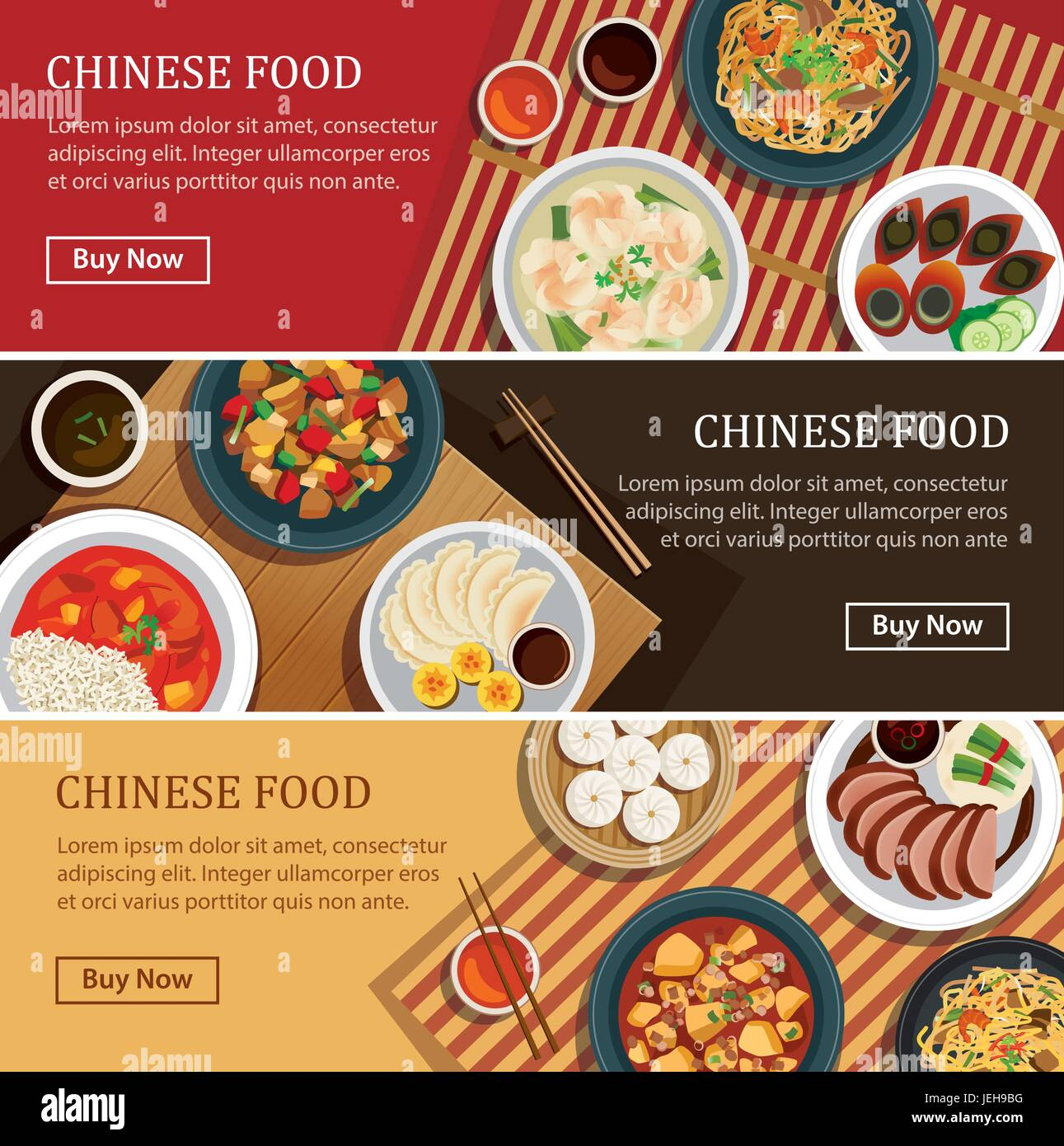 Chinese food web banner.Chinese street food coupon. - Stock Vector