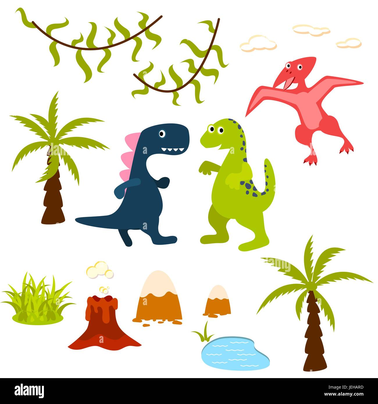 Dinosaur and jungle tree clipart set. - Stock Vector