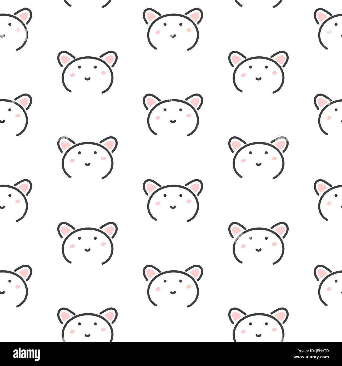 Bear stylized line fun seamless pattern for kids and babies. Stock Vector