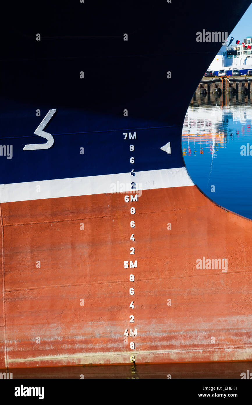 Plimsoll Line on a large ship Stock Photo