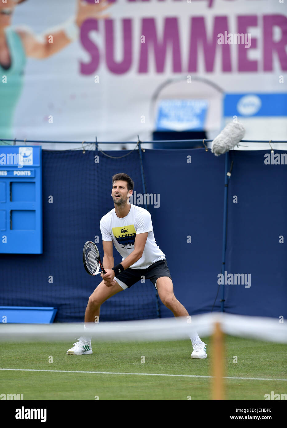 Novac Djokovic practicing at the Aegon International tennis tournament at Devonshire Park in Eastbourne East Sussex - Stock Image