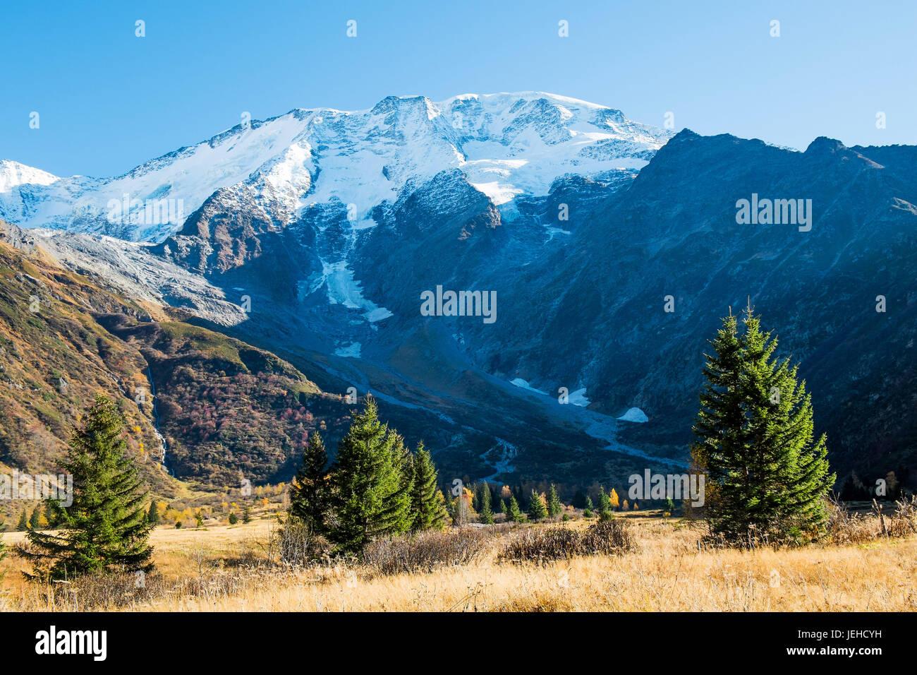 View of Mont Blanc de Miage from Chalets de Miage, Saint Gervais les bains, Chamonix, France - Stock Image