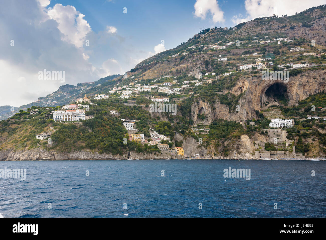 View of Conca dei Marini village on Amalfi coast seen from the sea, Campania, Italy - Stock Image