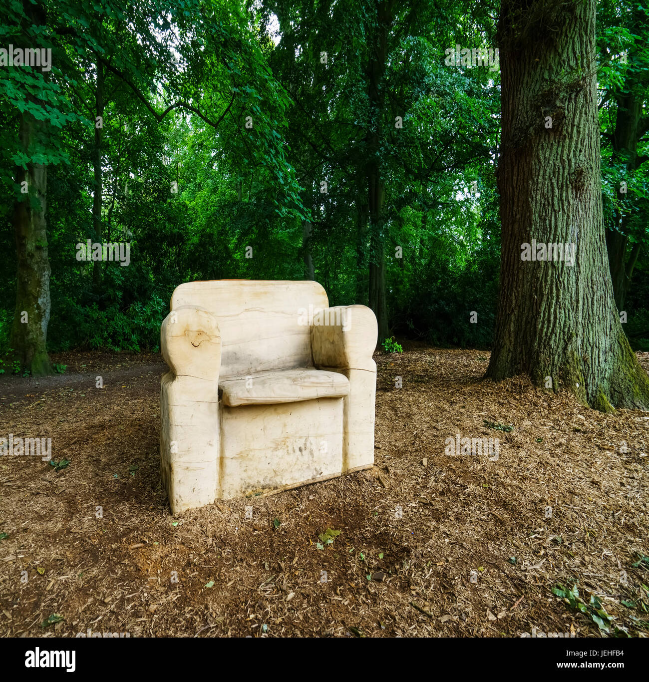 A white armchair sits along a path in a forest; Northumberland, England - Stock Image