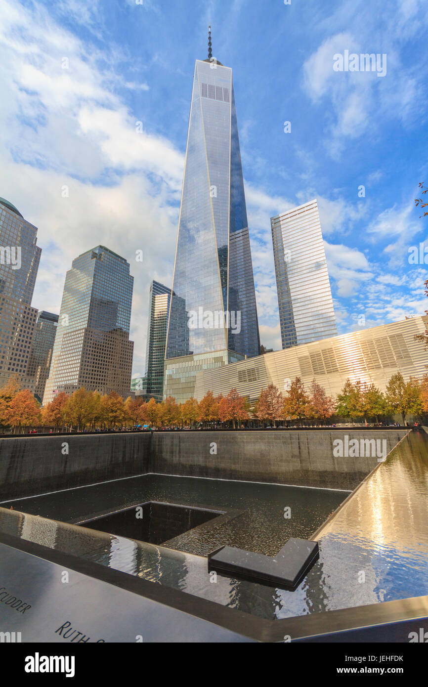 One World Trade Center buildin with pool - Stock Image