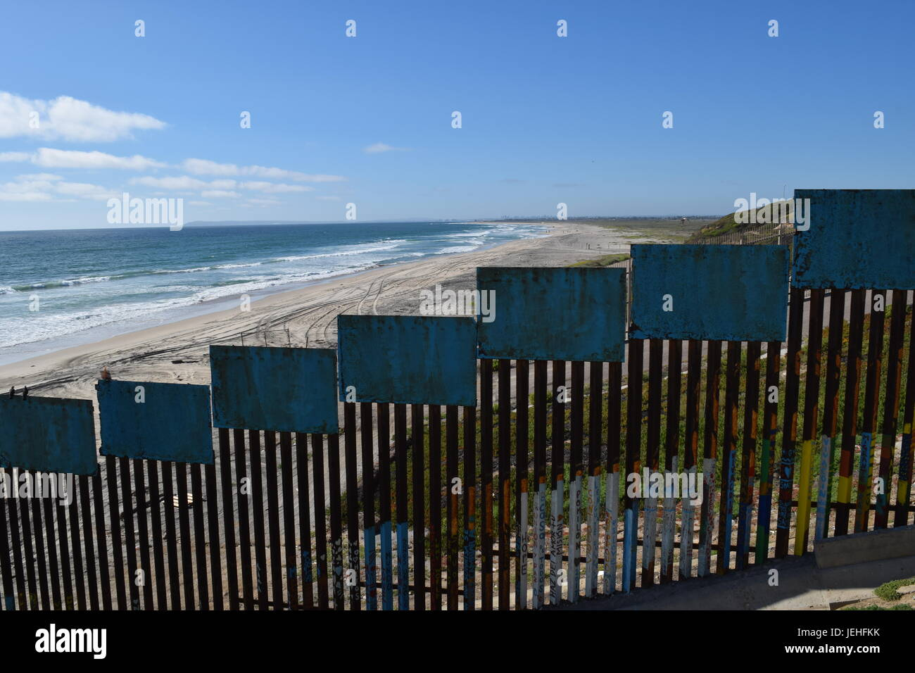 USA-Mexico border from Tijuana Stock Photo