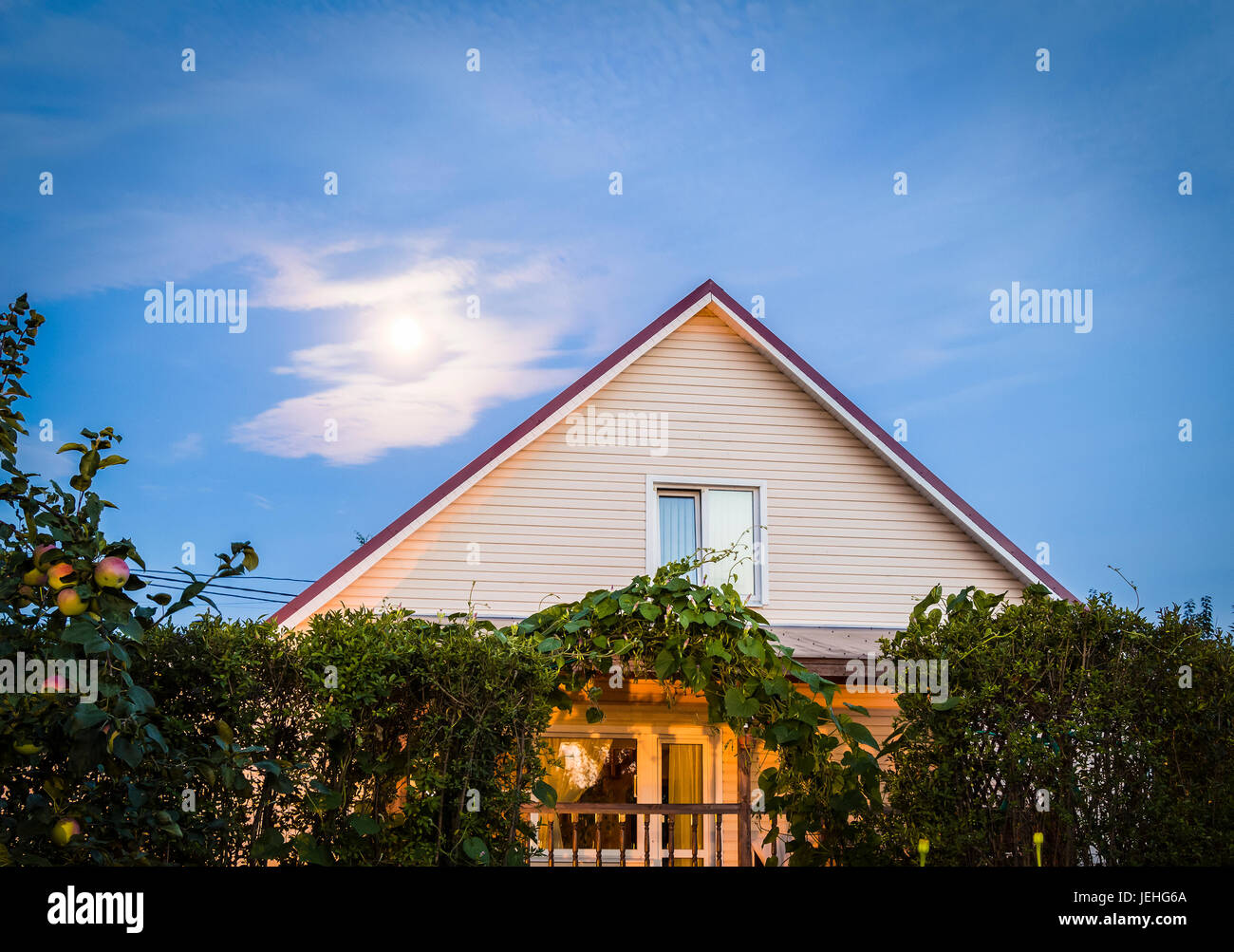 Skate house on background of the moon. - Stock Image