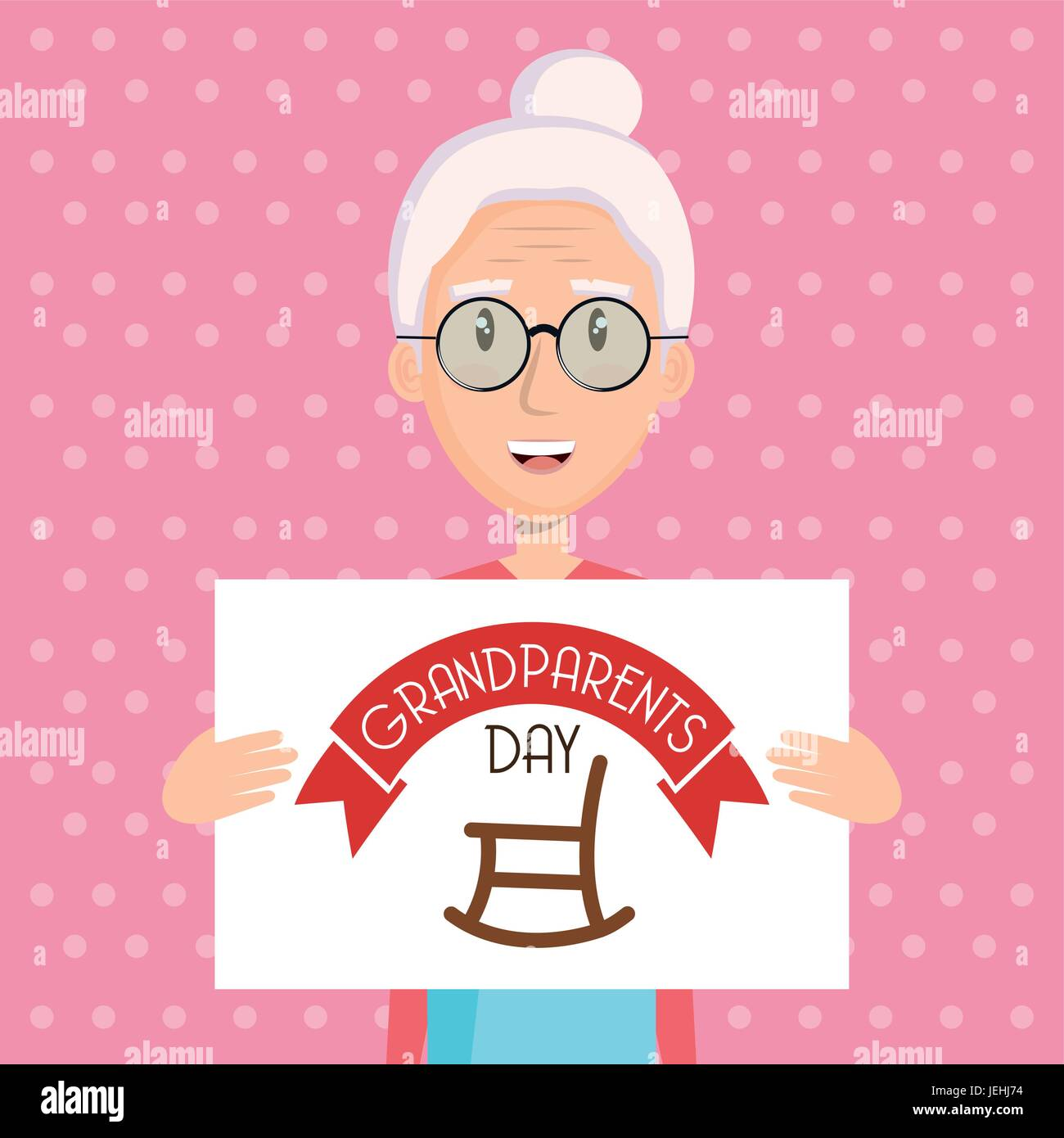 Grandma Holding Grandparents Day Sign With Rocking Chair Over Pink