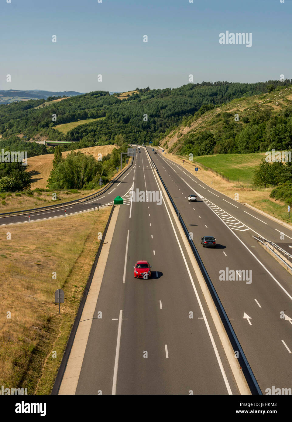 A75 Motorway Near Marvejols Village Lozere Occitanie France Europe