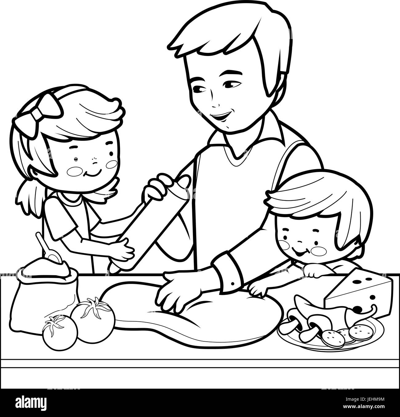 Father and children cooking pizza in the kitchen Coloring page
